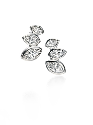 Picture of FS Clear CZ MARQUISE CLUSTER STUD EARRINGS