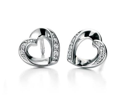 Picture of FS Clear Cz Ribbon Heart Earrings