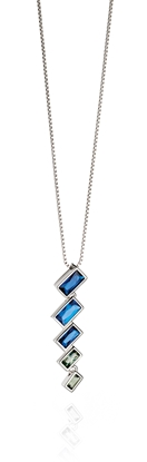 Picture of Blue Degradee Baguette Necklace