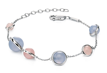 Picture of FS Chalcedony And Rose Quartz Station Bracelet
