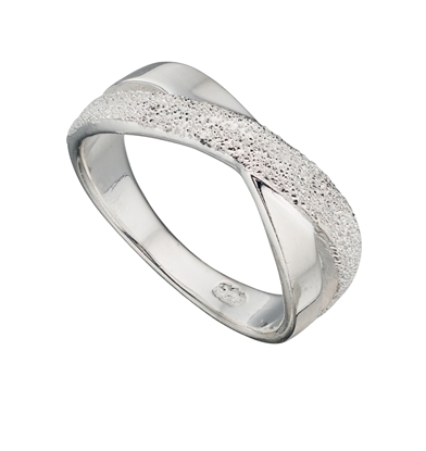 Picture of 1/2 Diamond Cut Crossover Kiss Ring