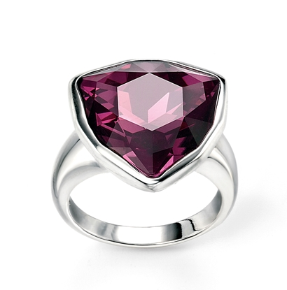 Picture of Amethyst Swarovski Crystal Triangle Ring