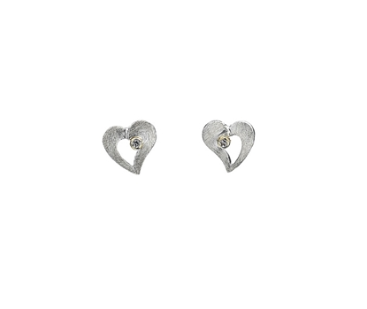 Picture of Silver & 9ct 2 Tone Heart with CZ Earrings