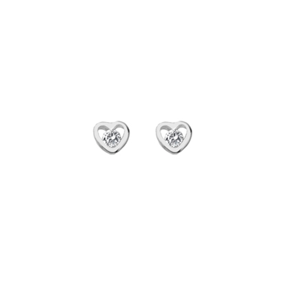 Picture of Silver & CZ Heart Stud Earrings