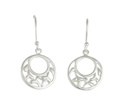 Picture of Silver Circle with Internal Pattern Drop Earring Pair 102