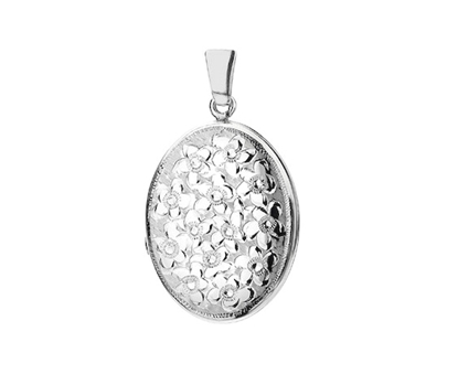 Picture of Silver Locket 4 Engraving L Full Flowers