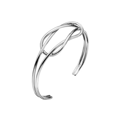 Picture of Silver Double Reef Knot Torque Bangle 15