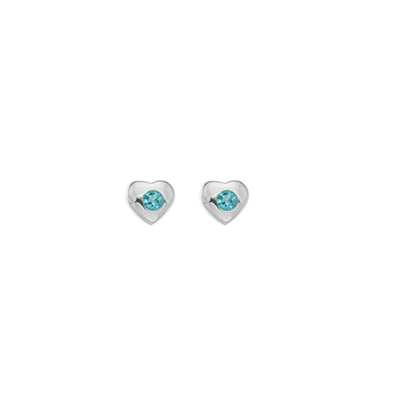 Picture of Silver Childrens Aqua CZ Heart Stud Earrings