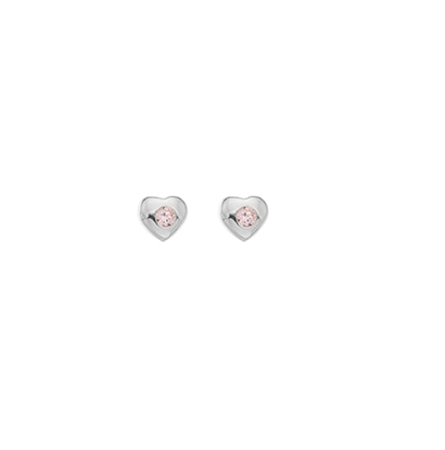 Picture of Silver Childrens Pink CZ Heart Stud Earrings