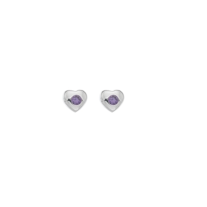 Picture of Silver Childrens Amethyst CZ Heart Stud Earrings