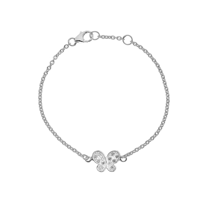 Picture of Silver Childrens CZ Butterfly Charm Bracelet