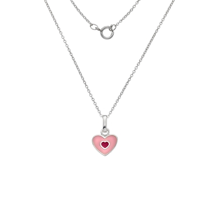 Picture of Silver Childrens Light Pink Enamel Heart Pendant on S12T14