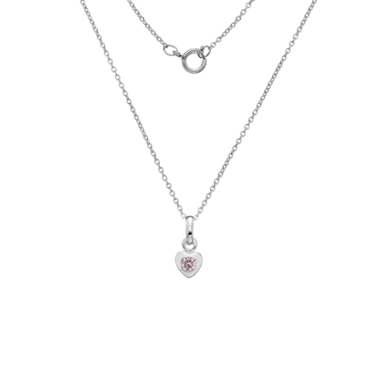 Picture of Silver Childrens Pink CZ Heart Pendant on S12T14