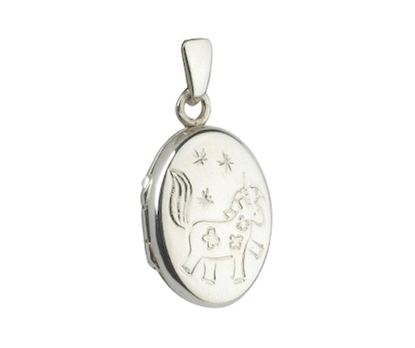 Picture of Silver Small Oval locket with Unicorn Engraving