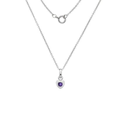 Picture of Silver Childrens Amethyst CZ Heart Pendant on S12T14