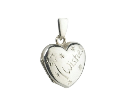 Picture of Silver Small Heart Locket with Wand Engraving
