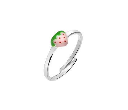 Picture of Silver Childs Pink Enamel Strawberry Ring One Size