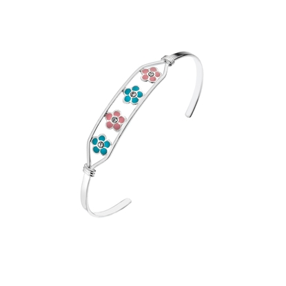 Picture of Silver Childrens CZ Pink & Blue Enamel Flower Bangle
