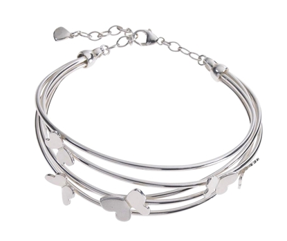 Picture of Silver Echo 1P Bangle Bracelet with Satin Butterfly