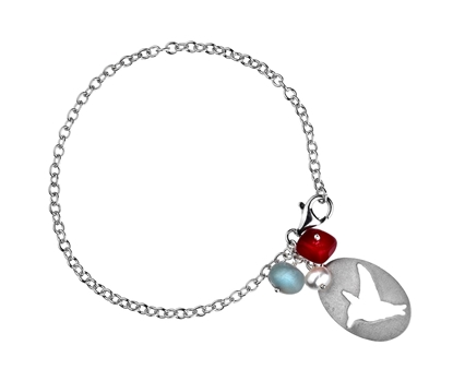 Picture of  Silver Bracelet with Nuggets & Bird Tag 7.5/19cm