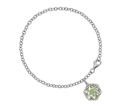 Picture of  Silver Bracelet with Green Circular Pendant Dome 7.5/