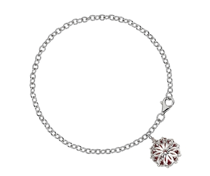 Picture of  Silver Bracelet- Red Bead with Floral Pendant Dome 7.5