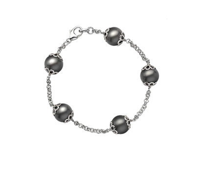 Picture of  Silver Bracelet with Green Swarovski Pearl 7.5/19cm