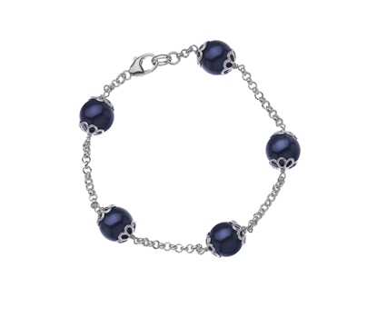 Picture of  Silver Bracelet with Deep Purple Swarovski Pearl 7.5/