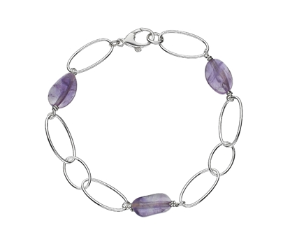 Picture of  Silver Bracelet with Large Amethyst Beads 7.5/19cm