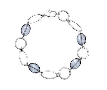 Picture of  Silver Bracelet with Facetted Glass Beads 7.5/19cm