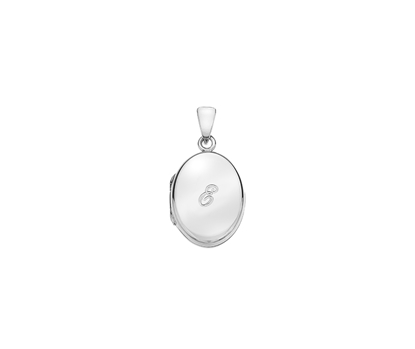 Picture of Silver Locket 5 Engraved Letter E