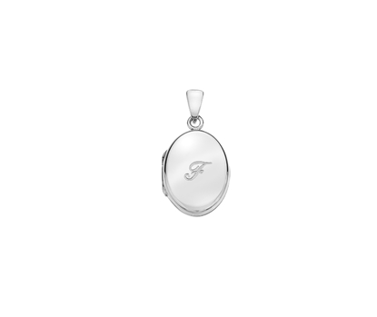 Picture of Silver Locket 5 Engraved Letter F