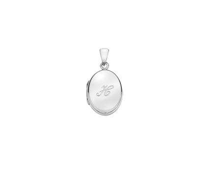 Picture of Silver Locket 5 Engraved Letter H