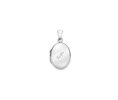 Picture of Silver Locket 5 Engraved Letter I