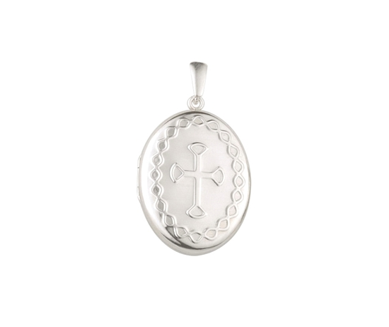 Picture of Silver Locket 2 With Cross Embossing