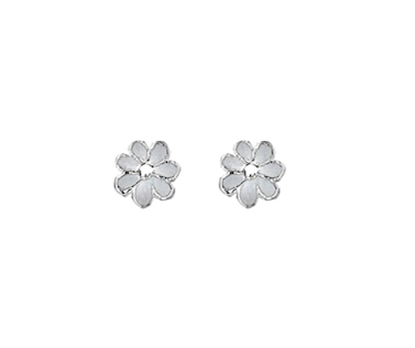 Picture of Silver Childrens Earrings White Daisy
