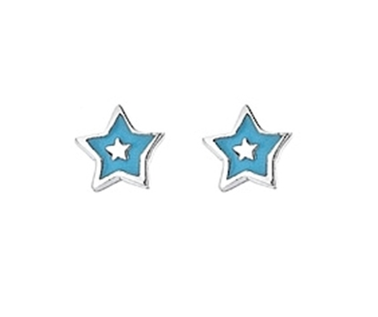 Picture of Silver Childrens Earrings Blue Enamel Star