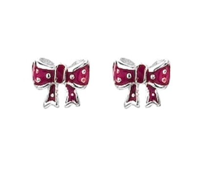 Picture of Silver Childrens Earrings Red Enamel Bow