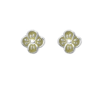 Picture of Silver Childrens Earrings Yellow Enamel Daisy