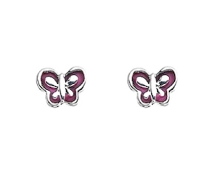 Picture of Silver Childrens Earrings Pink Enamel Butterfly