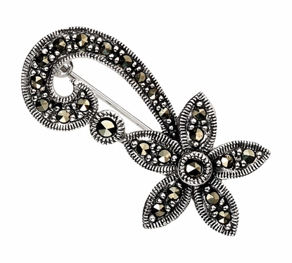 Picture of Marcasite Flower Swirl Brooch