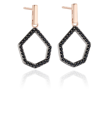 Picture of Black Pave Open Shape Earrings