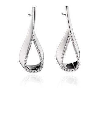 Picture of CZ Ribbon Teardop Earrings
