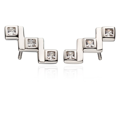 Picture of Crawler Stud Earrings With Cubic Zirconia
