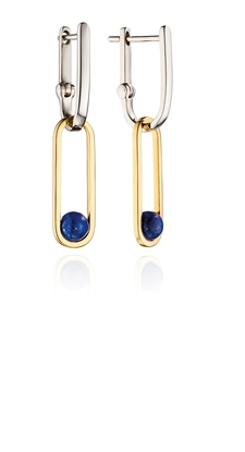 Picture of Drop Hoop Earrings With Blue Lapis Agate