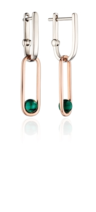 Picture of Drop Hoop Earrings With Malachite