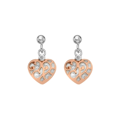 Picture of Silver & Red Gold Plate CZ Heart Drop Earrings