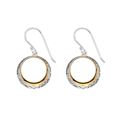 Picture of Silver & Yellow Gold Plate Circle Drop Earring