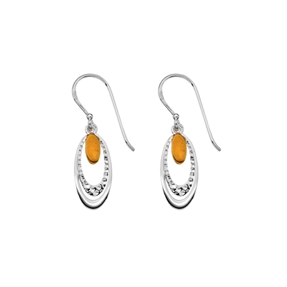 Picture of Silver & Yellow Gold Plate Oval Drop Earring