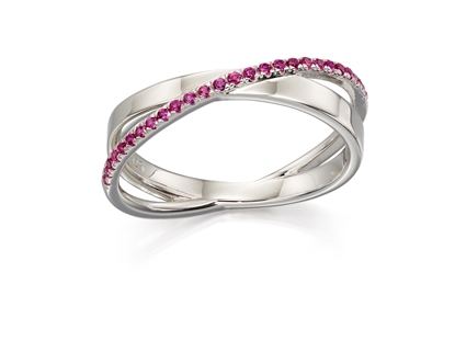 Picture of Pave Band Ring In Silver & Pink CZ